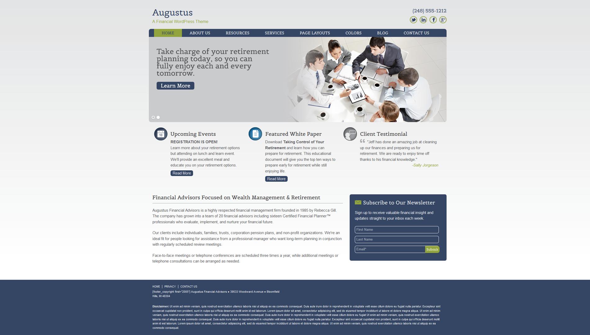 Financial Investment Planner Website Design